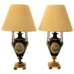 Pair of Antique French Cobalt Blue Sèvres Porcelain and Ormolu-Mounted Lamps