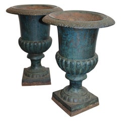 Pair of Antique French Continental Blue Cast Iron Urn Campana Jardinière