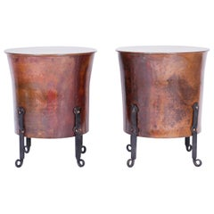Pair of Antique French Copper and Iron End Tables