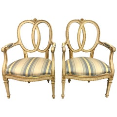 Pair of Antique French Cream Painted Giltwood Armchairs