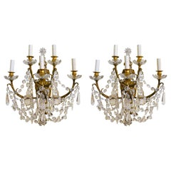 Pair of Antique French Crystal and Bronze Five Light Sconces