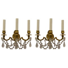 Pair of Antique French Crystal and Bronze Sconces