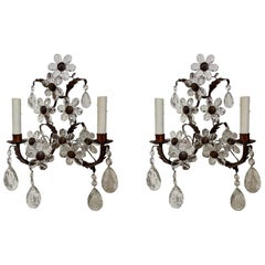 Pair of Antique French Crystal Flower Sconces