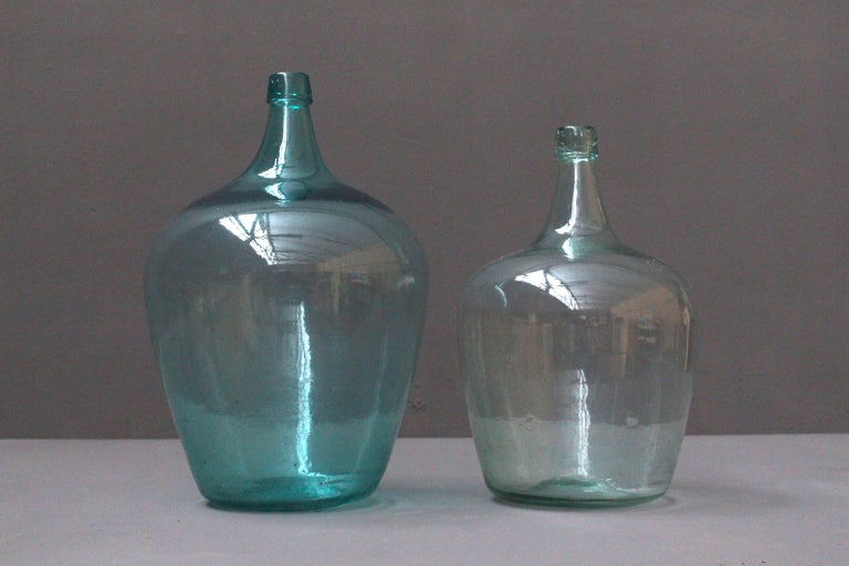 Country Pair of Antique French Demijons Hand Blown Wine Bottles For Sale