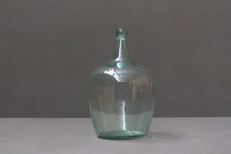Glass Pair of Antique French Demijons Hand Blown Wine Bottles For Sale