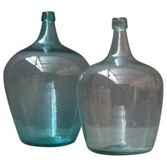 Pair of Antique French Demijons Hand Blown Wine Bottles