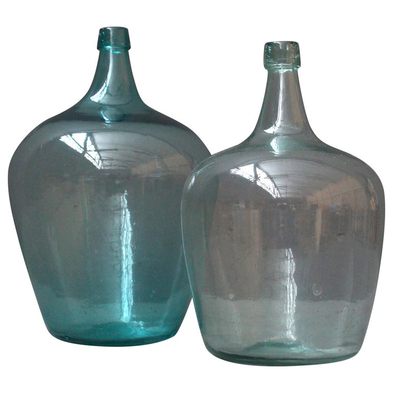 Pair of Antique French Demijons Hand Blown Wine Bottles For Sale