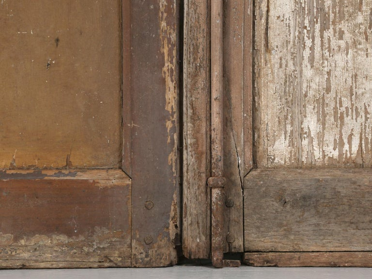 Pair of Antique French Doors in Original Paint and Great Hardware 10