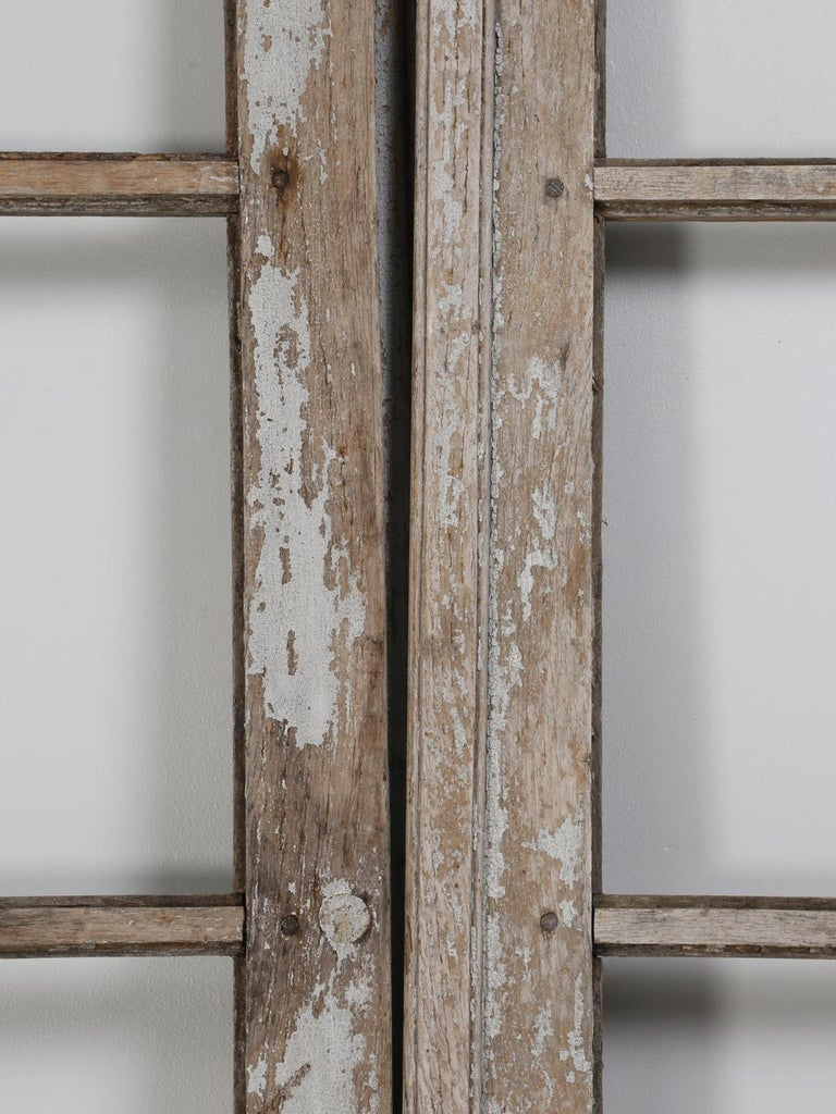 Pair of Antique French Doors in Original Paint and Great Hardware In Distressed Condition In Chicago, IL