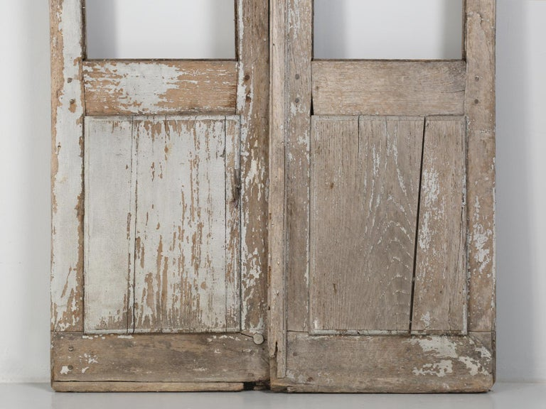 Late 19th Century Pair of Antique French Doors in Original Paint and Great Hardware