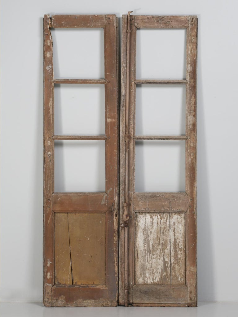 Pair of Antique French Doors in Original Paint and Great Hardware 2