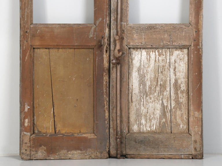 Pair of Antique French Doors in Original Paint and Great Hardware 7