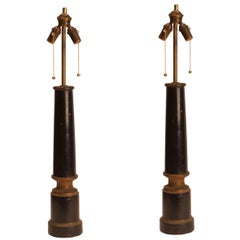 Pair of Antique French Ebonized Columns Now Mounted as Lamps