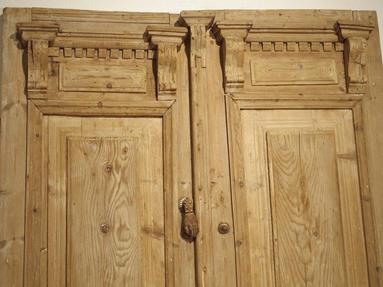 Pine Pair of Antique French Egyptian Doors, Early 1900s For Sale