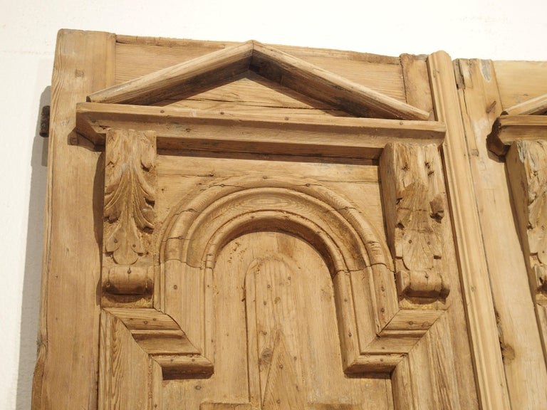 Pair of Antique French Egyptian Pine Doors with Carved Bird Motifs For Sale 4