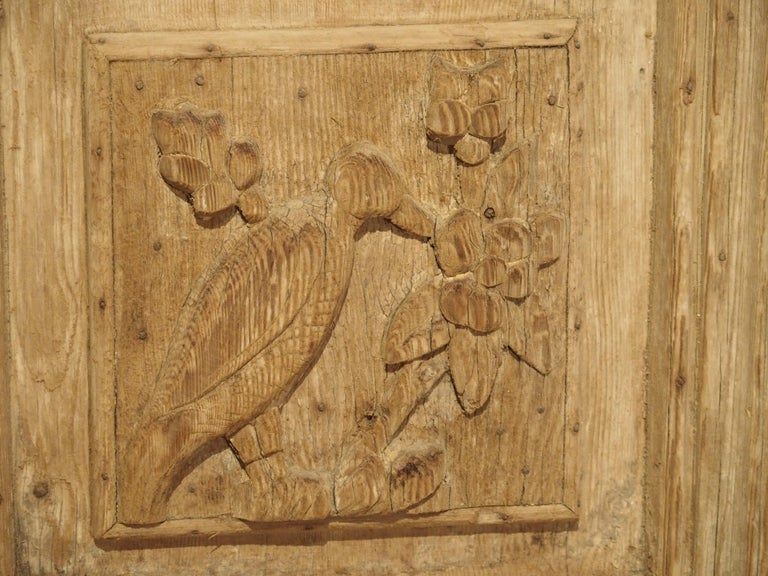 Pair of Antique French Egyptian Pine Doors with Carved Bird Motifs For Sale 6