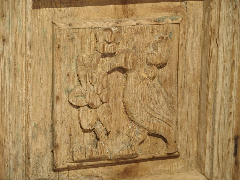Pair of Antique French Egyptian Pine Doors with Carved Bird Motifs For Sale 7