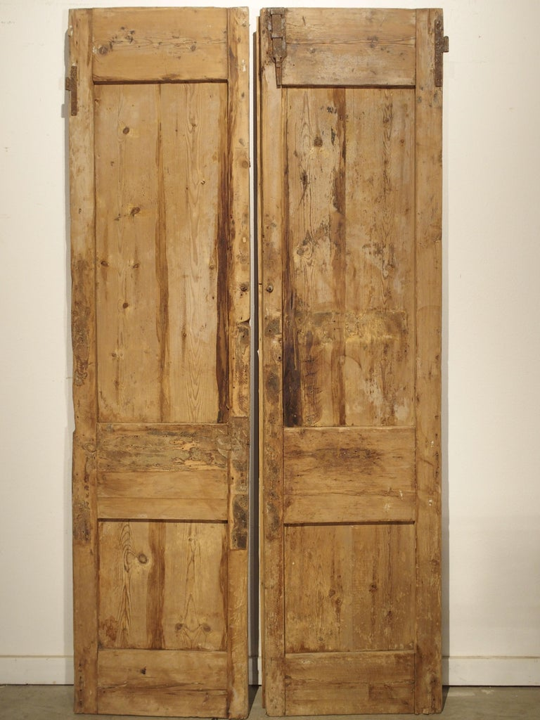 Pair of Antique French Egyptian Pine Doors with Carved Bird Motifs For Sale 9