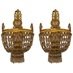 Pair of Antique French Emipre Crystal and Bronze Sconces