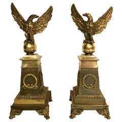 Pair of Antique French Empire Eagle Andirons