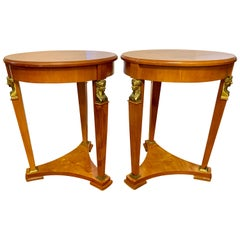 Pair of Antique French Empire Mahogany and Bronze Round Tables