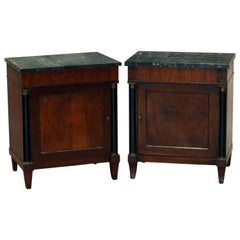 Pair of Antique French Empire Mahogany and Marble Side Tables, circa 1890