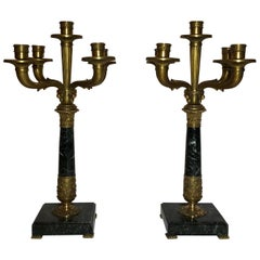 Pair of Antique French Empire Marble and Bronze Candelabra