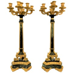 Pair of Antique French Empire Marble and Bronze D'ore Candelabra
