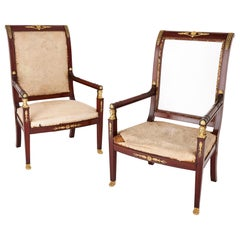 Pair of Antique French Empire Style Mahogany and Gilt Bronze Armchairs