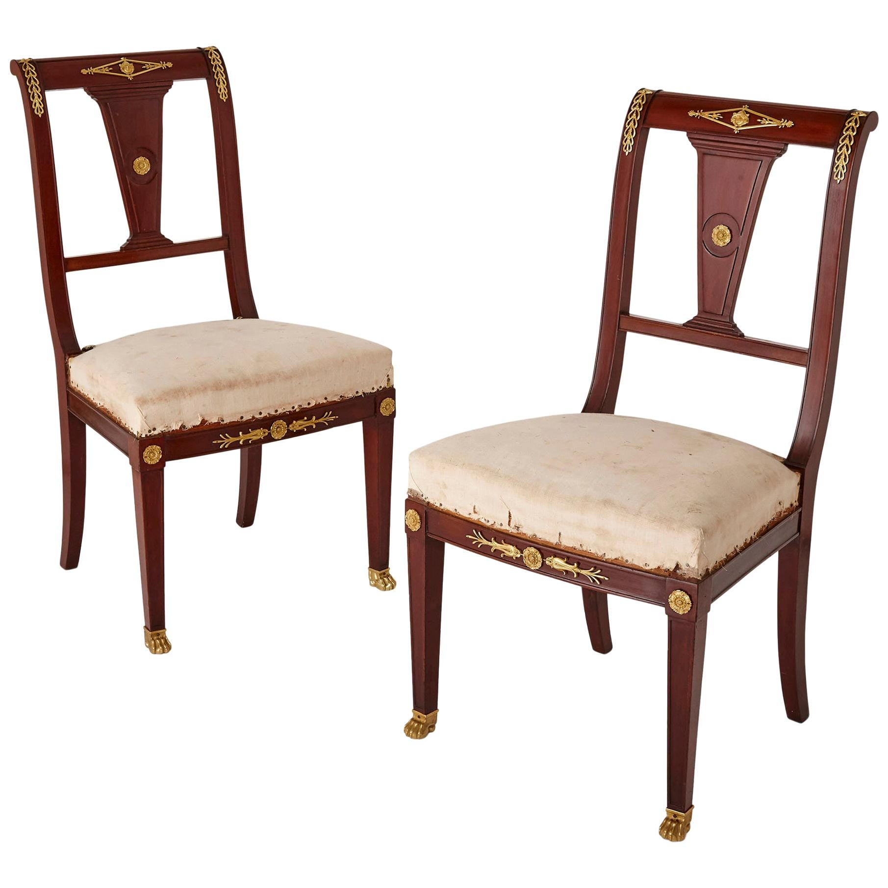 Pair of Antique French Empire Style Mahogany and Gilt Bronze Chairs