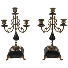 Pair of Antique French Empire Style Marble and Brass Candelabras