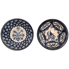 Pair of Antique French Faience Blue and Water Chargers