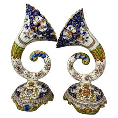Pair of Antique French Faience Trumpet Vases, circa 1900