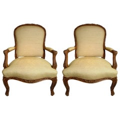 Pair of Antique French Finely Carved Walnut Armchairs
