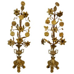 Pair of Antique French Floral Bronze Torcheres