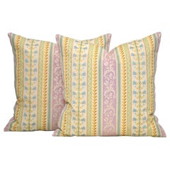 Pair of Antique French Floral Pillow Cushions Backed in New Irish Linen