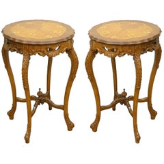 Pair of Antique French Floral Satinwood Inlaid Round End Tables Carved Walnut