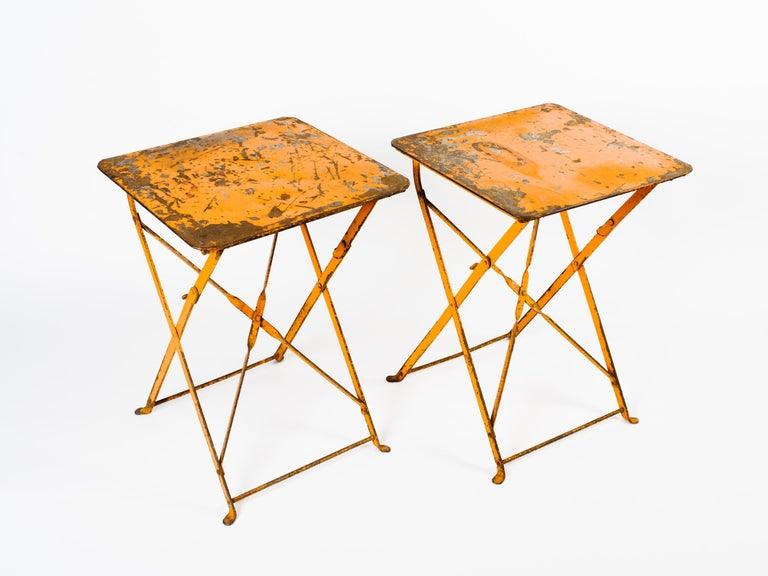 Industrial Pair of Antique French Folding Bistro Garden Tables For Sale