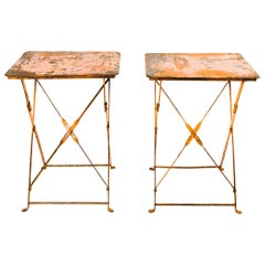 Pair of Antique French Folding Bistro Garden Tables