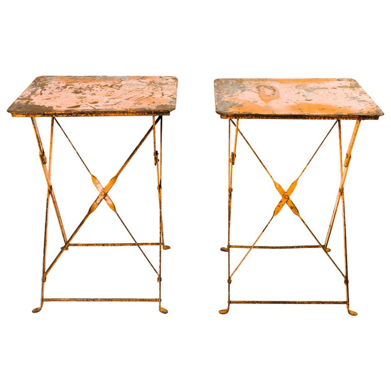 Pair of Antique French Folding Bistro Garden Tables For Sale