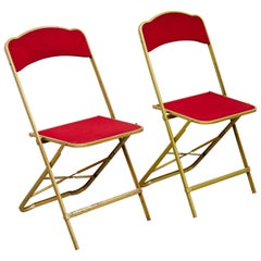 Pair of Antique French Folding Theater Chairs, circa 1960
