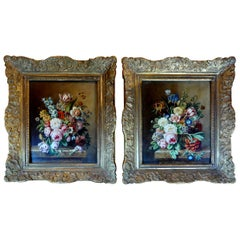 Pair of Antique French Framed Floral Oil Paintings