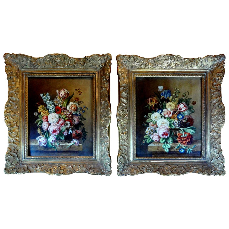Pair of Antique French Framed Floral Oil Paintings For Sale