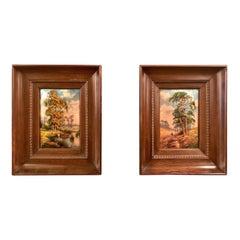 Pair of Antique French Framed Limoges Enamels