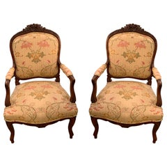 Pair of Antique French Fruitwood Fauteuils