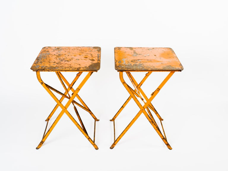 Pair of Antique French Garden Bistro Folding Tables For Sale 3