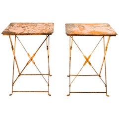 Pair of French Antique Bistro Folding Tables in Distressed Orange Metal, c. 1930