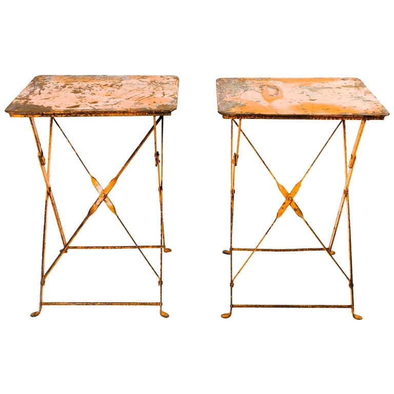 Pair of Antique French Garden Bistro Folding Tables For Sale