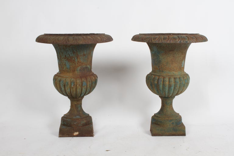 Pair of unusual early 20th century antique French cast iron half round demilune wall mounted urn form wall planters. Having traces of blue paint, egg and dart pattern with classical quarter-lobed body on plinth base. Overall rust, very heavy no