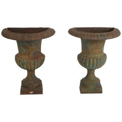 Pair of Antique French Garden Cast Iron Half Round Urn Form Fluted Wall Planters